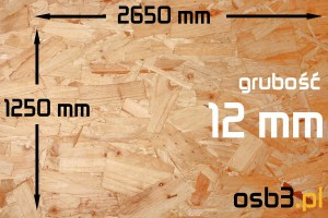 Płyta OSB3 sp 12mm/1250x2650